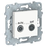 Розетка TV-R/SAT проходная, Schneider Unica New, белый, Schneider Electric