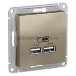 Розетка USB двойная для зарядки Schneider Electric Atlasdesign 2,1А, шампань, Schneider Electric