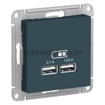 Розетка USB двойная для зарядки Schneider Electric Atlasdesign 2,1А, изумруд, Schneider Electric